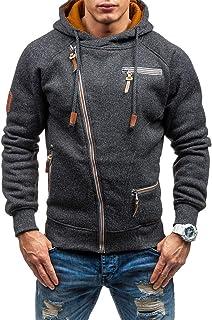 Mens Casual Long Sleeve Hoodies Full Zip Velvet Sweatshirt M-3XL