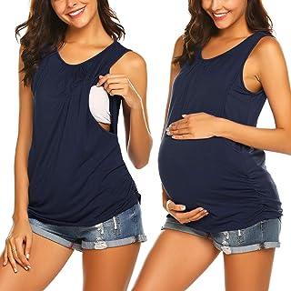 UNibelle T-Shirt de Grossesse Haut d'allaitement Concis Vetement Allaitement été Débardeur de Maternité Femme