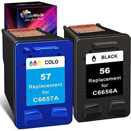 ColoWorld Remanufactured Ink Cartridge Replacement for HP 56 57 56XL 57XL Combo Pack (1 Black,1 Color) for OfficeJet 5610 6110 5510 4215 PhotoSmart 7660 7760 7960 DeskJet 5550 5650 PSC 1315 Printer