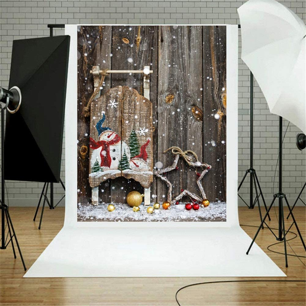 GQYLQ-OP Photography Cloth Retro Wooden Floor Snowman Star Backdrop Decoration for Photography Vinyl Photo Background Kids Adults Studio Props for Video Photography and Television