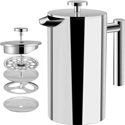 Utopia Kitchen Stainless Steel French Press - Double Wall 32oz Coffee Press - Stainless Steel Plunger Coffee & Tea Maker