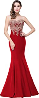 Lace Appliques Long Mermaid Formal Evening Dresses for Women