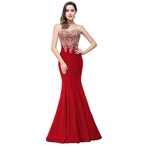 c1ed268e7a6 Babyonline Mermaid Evening Dress for Women Formal Lace Appliques Long Prom  Dress