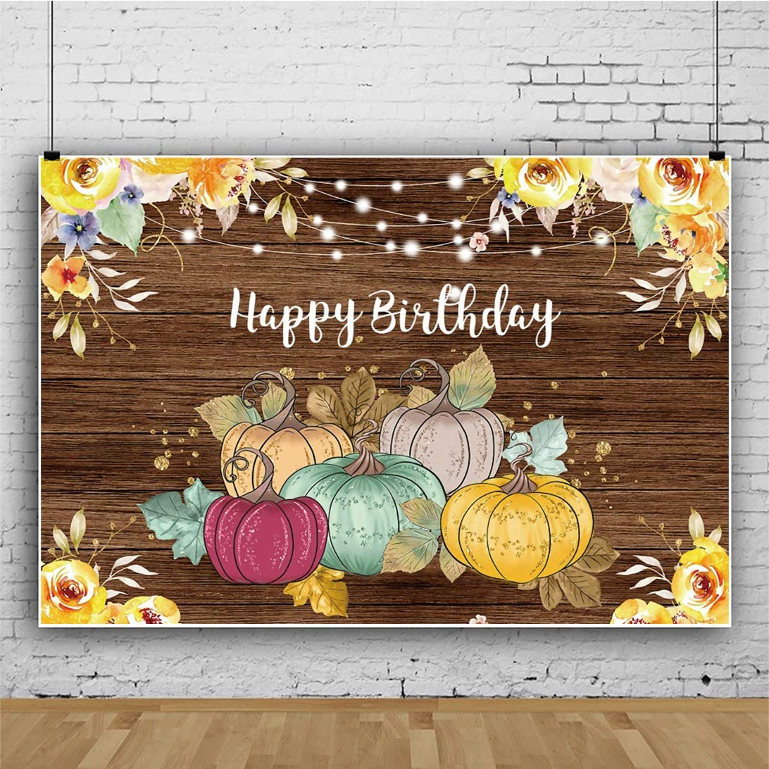 OERJU 12x10ft Vintage Woodboard Backdrop Yellow Floral Pumpkins Happy Birthday Photography Background Baby Shower Banner Kids 1st Birthday Party Decor Rustic Theme One Years Old Birthday Party Wall