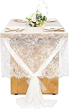 Woowland Wedding Floral Lace Tablecloths 60 x 120 Inch, Vintage White Rectangle Lace Table Cover Table Runner Overlay, Rustic Bridal Shower Baby Shower Birthday Buffet Outdoor Party Table Decoration