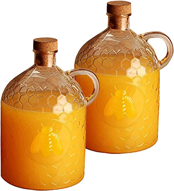 Set Of 2 Circleware Honey Bee 2 Liter Glass Jug Pitcher With Cork Stopper 2