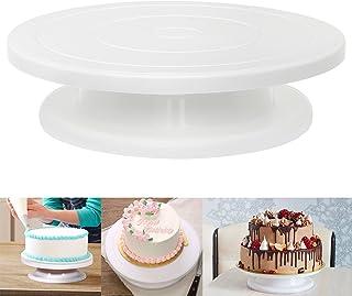 CLOYES ケーキ用装飾台 回転 結婚式 誕生日ケーキ ケーキ回転台 ターンテーブル ケーキ作り用 クルクルスタンド 滑り止め PP プラスチック(ホワイト)