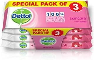 Dettol Skincare Anti-Bacterial Skin Wipes - Pack Of 10, 2+1 Free