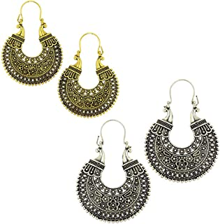 Kaizer Jewelry Special Tribal Collection of Oxidized Silver (Gold) Hanging Earrings for Women Girls (Gift) DS-42