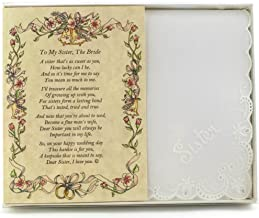 Wedding Handkerchief Poetry Hankie (Sister to Bride) White, Lace Embroidered Bridal Keepsake, Beautiful Poem | Long-Lasting Memento for the Bride | Includes Gift Storage Box