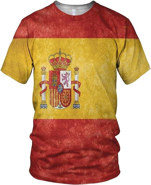 Estampado Entero España Bandera Hombre Moda Camiseta ...
