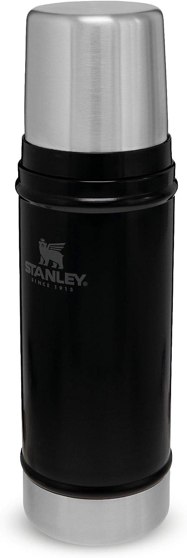Stanley Classic Legendary Bottle 0.47L / 16OZ Matte Black – Termo de Acero Inoxidable Sin BPA - Mantiene Frío o calor 15 horas - Tapa Doble que Sirve de Taza - Apto Para Lavavajillas