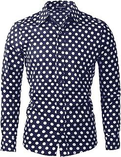 Men Polka Dots Long Sleeve Slim Fit Cotton Printed Dress Button Down Shirt