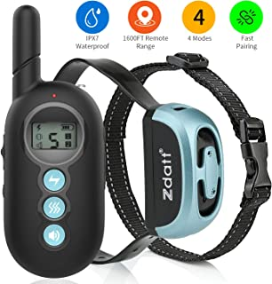 ZDATT Dog Training Collar Shock Collar for Dogs Waterproof Dog Shock Collar with Remote with 4 Training Modes Bark Collar Up to 1600Ft Range Dog Training Collar for Small, Medium, Large Dogs