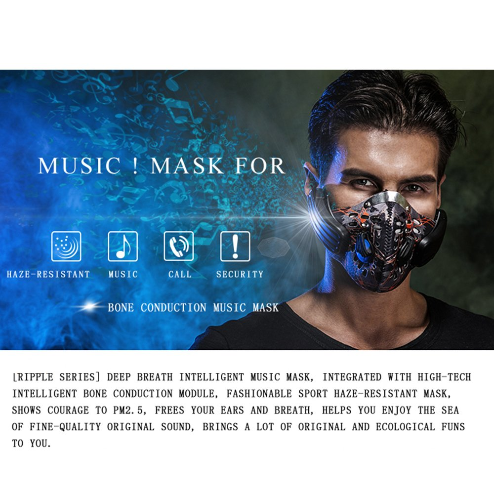 Gendax Bone Conduction Wireless Bluetooth 4.0 Headphones Anti Pollution Mask Handfree Headset with Built-in Microphone for Cycling Riding Jogging