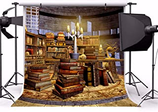 Leyiyi 5x5ft Vintage Scientist Lab Photography Backdrop Old Rustic Brick Building Bookshelves Books Candles Wizard Workshop Background Halloween Skull Magician Photo Portrait Vinyl Video Studio Prop