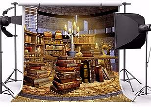 Leyiyi 5x5ft Vintage Scientist Lab Photography Backdrop Old Rustic Brick Building Bookshelves Books Candles Wizard Workshop Background Halloween Skull Magician Photo Portrait Vinyl Video Studio Prop