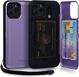 TORU CX PRO iPhone 11 Pro Wallet Case Purple with Hidden Credit Card Holder ID Slot Hard Cover, Strap, Mirror & Lightning Adapter for Apple iPhone 11 Pro (2019) - Lavender
