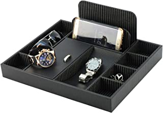 Massca PU Leather Box Valet Charging Station Multi-Device Office Desk Organizer. Perfect Nightstand Organizer Great for Your Wallet, Keys, Phones and Other Electronic Devices.Perfect Gift Idea.