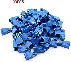 RilexAwhile 100 Pcs Blue Soft Plastic CAT5E CAT6 Ethernet RJ45 Cable Cap Connector Boots Plug Cover Strain Relief Boots (Blue)