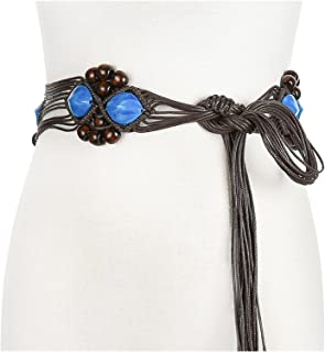فستان حزام خصر للنساء طراز بوهيميا فستان اكسسوارات مصنوع يدويًا حزام منسوج للمعطف (طول الحزام: 171 سم، اللون: أزرق)