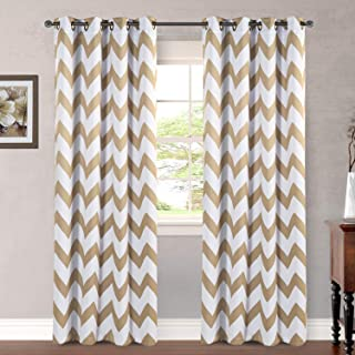 Bedroom Curtains Simple Polyline Taupe Blackout Draperies Home Decoration Thermal Insulated Chevron Grommet Top Panels/Drapes for Living Room ( 2 Pieces, 52 x 96 Inch in Taupe Chevron Pattern )