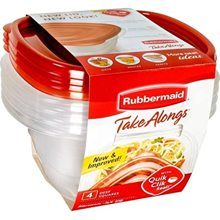 Rubbermaid 071691423140 TakeAlongs Deep Square Food Storage Containers, 5.2 Cups, 4 Pack, Tint Chili Red