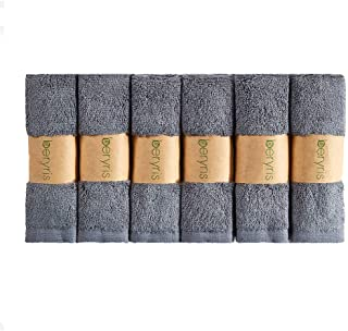 Beryris Bamboo Wash Cloths Bamboo Face Cloth (Pack of 6) - 25 x 25 cm Soft Face Cloth Flannels for Washing Face, Makeup Re...