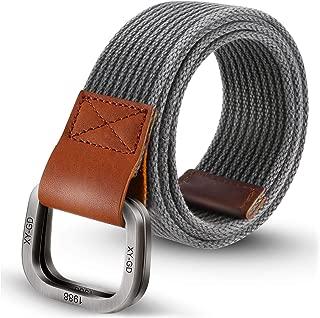 Men's Canvas Belt Military Belts for Men Double D-Ring Buckle Casual Webbing Belt