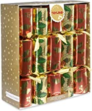 10 x Deluxe Large Christmas Crackers - Red, Green and Gold with Holly Design
