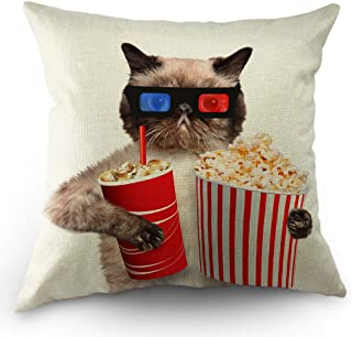 Moslion Cat Pillows Decorative Throw Pillow Cover Cats Watching 3D Movie with Popcorn Pillow Case 18x18 Inch Cotton Linen Square Cushion Cover for Sofa Bedroom