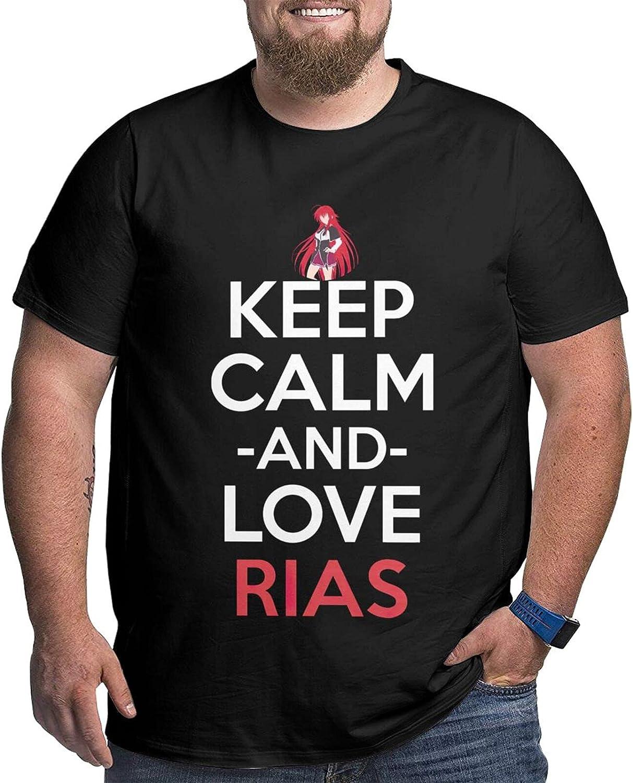 SOXCOLOT Highschool DxD Rias Men's Shirt Casual Short Sleeve Plus Size Cotton Tshirt