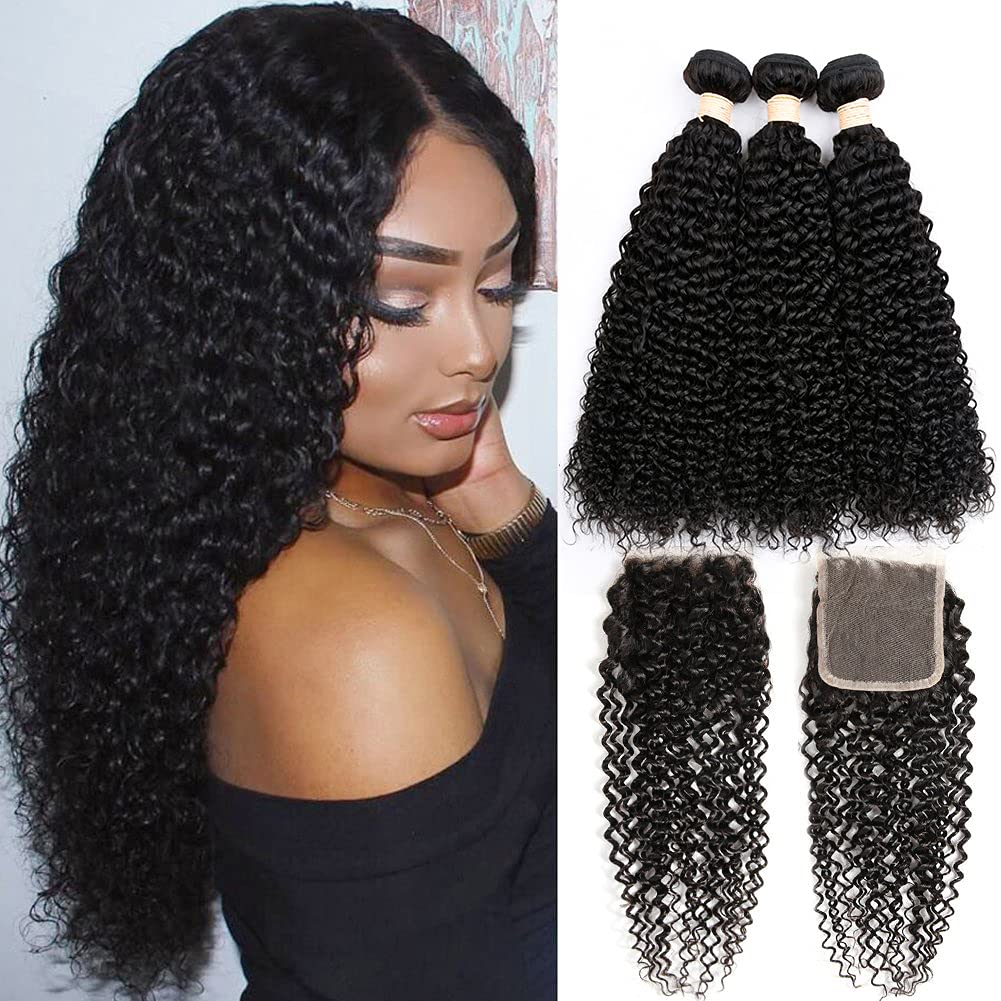 Brazilian Kinky Curly Bundles with 18+14)10A Super special price Closure(14 Ranking TOP14 V 16