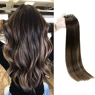 Full Shine Hair Extensions Clip In Human Hair 18 Inch Seamless Remy Hair Clip In Extensions Brown Balayage Color 2/8/2 Remy Clip In Hair Extensions Human Hair 100 Gram 8 Pcs