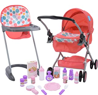 Hauck 17 Piece Baby Doll Set with Folding Pram High Chair