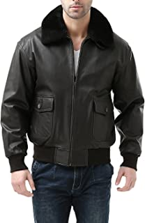 Men's Premium Navy G-1 Goatskin Leather Flight Bomber Jacket (Regular Big & Tall)