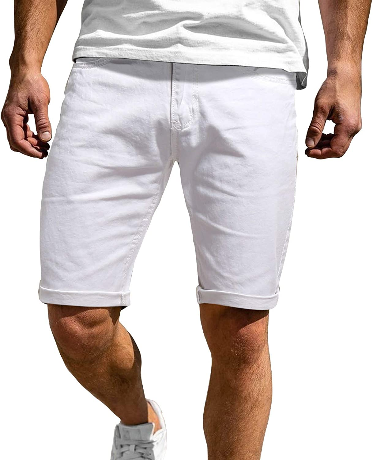 ZCAITIANYA Men's Shorts Casual Business Solid Color Slim Fit Stretch Straight Zipper with Pockets