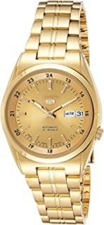 Seiko 5 Men's Gold Dial Stainless Steel Automatic Watch - SNK574J1