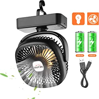 OUTXE Camping Fan with Night Lights 4400mAh/5200mAh USB Rechargeable Tent Fan Portable USB Camping Fan Persona Fan