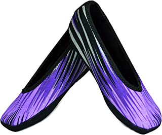NuFoot Ballet Flats Women's Shoes, Best Foldable & Flexible Flats, Slipper Socks, Travel Slippers & Exercise Shoes, Dance Shoes, Yoga Socks, House Shoes, Indoor Slippers, Purple Aurora, Extra Large