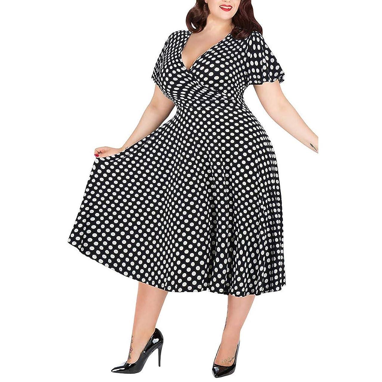Belt Dress Women's Dot Printed Short Sleeve Dress Casual Plus Size V-Neck Maxi Dress Belt Mini Dress Beach Party Dresses