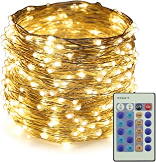ER CHEN Dimmable LED String Lights,100Ft 300 LEDs Silver Wire Starry String Lights with Remote Control and Adapter For Seasonal Decorative Christmas Holiday, Wedding, Parties(Warm White)