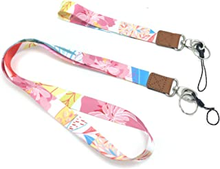 Neck Lanyards + Wristlet Lanyards with Double-Sided Printing Designs for Key Chain, Mobile Phone, Card Holders and ID Badg...