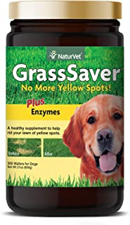 NaturVet – GrassSaver Wafers For Dogs Plus Enzymes – 300 Wafers – Healthy Supplement to Help Rid Your Lawn of Yellow Spots...