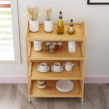 sogesfurniture 4-Tier Storage Shelf Unit On Wheels, Bamboo Kitchen Serving Storage Trolley, Bamboo Storage Utility Cart, Bath