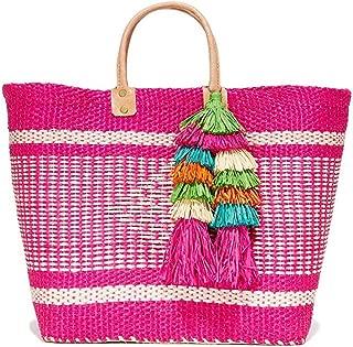 Mar Y Sol Ibiza Tassel Market Tote Beach Bag, Pink Multi