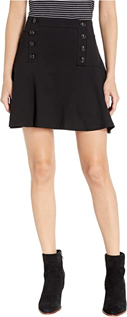 Knit Button Front Flirty Ponte Skirt
