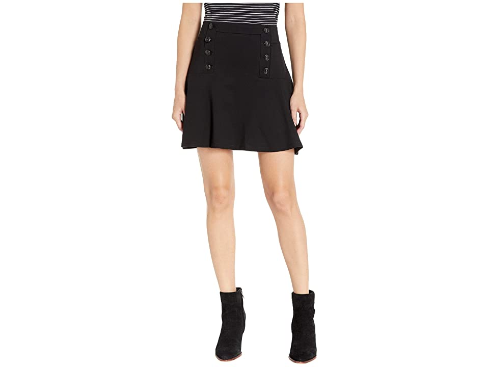 Juicy Couture Knit Button Front Flirty Ponte Skirt (Pitch Black) Women