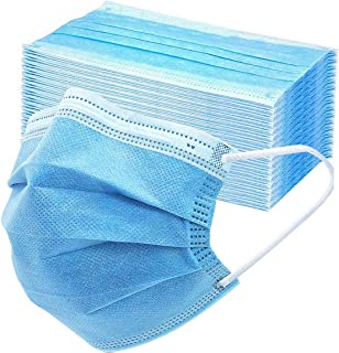 Asofcof 50PCS Disposable Face 3 Layer Anti-Dust Earloops Protective Cover Mask (Blue)