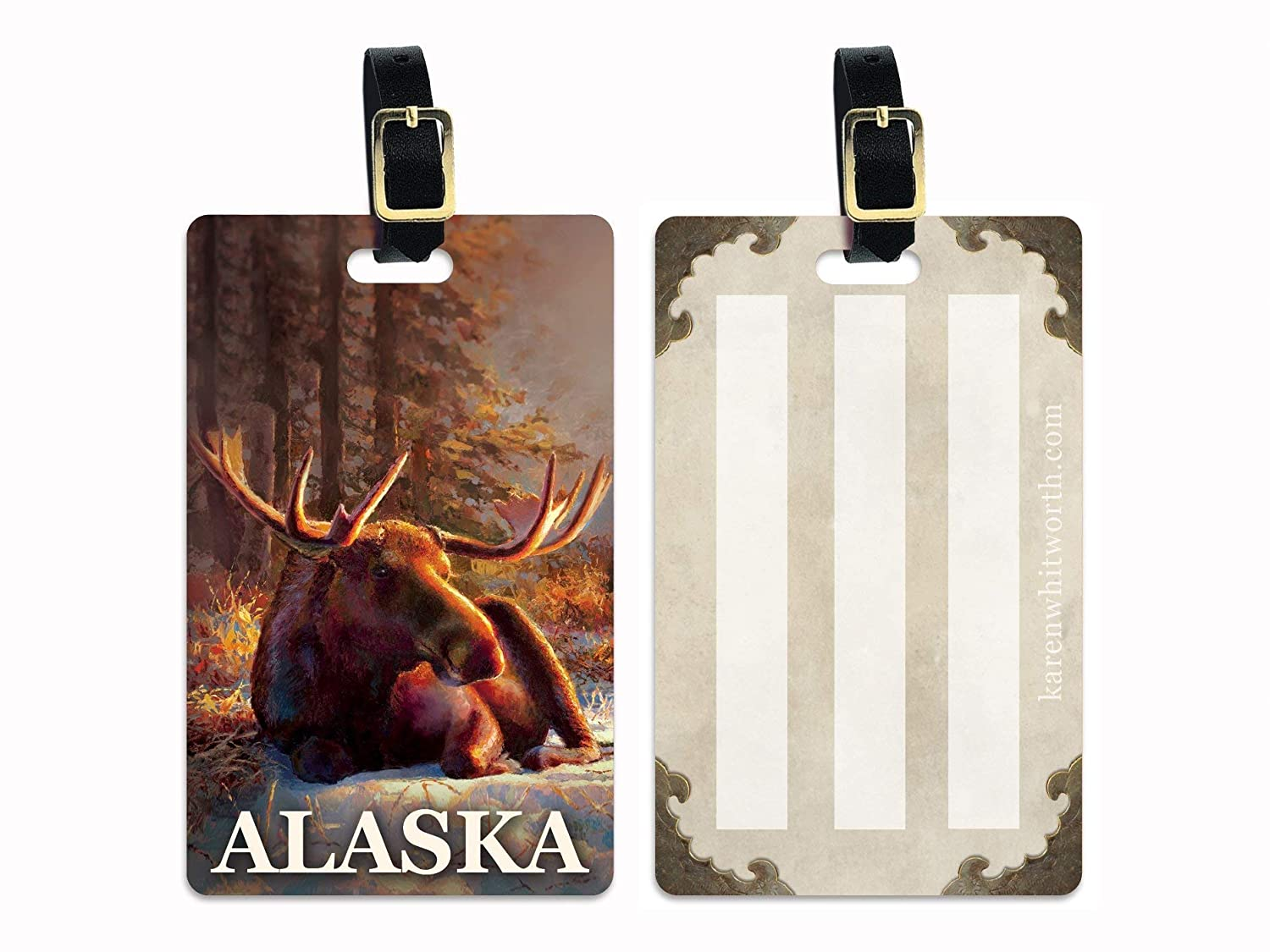 Alaska Super special price Bull Moose Luggage Tag Bargain with Buckle Travel Cru Leather and